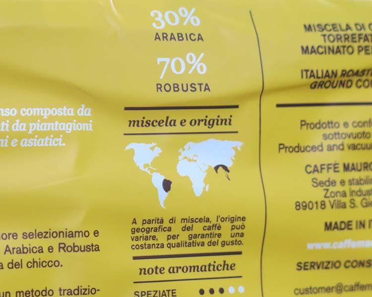 Caffè Mauro 30% arabica e 70% robusta